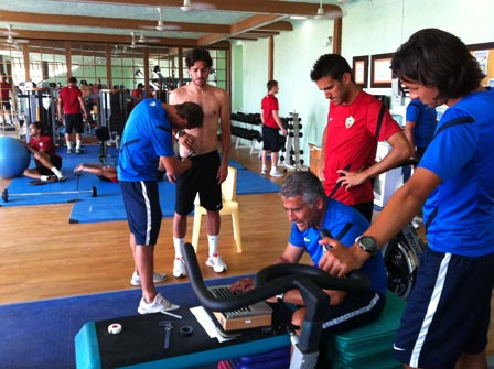 UD Almer?a Team working out at the Sierra Sports & Fitness Club
