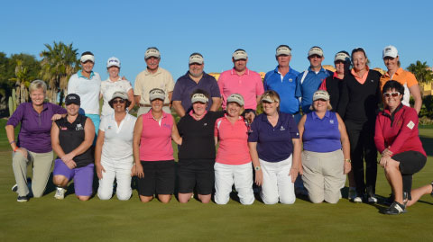 Leading Professionals from the Ladies European Tour; Gwladys Nocera, Trish Johnson, Becky Brewerton, Amy Boulden, Lydia Hall, Hannah Burke and Vikki Laing with Desert Springs members and guests, for the 2015?Golf 4 All? Pro-Am