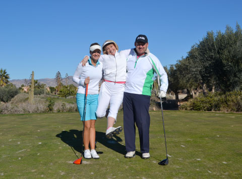 LET Professional Amy Boulden with team members Catherine and Peter Grief having a ball!