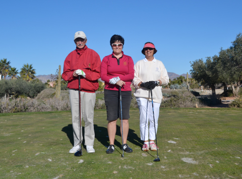 Winners of the 2015 ?Golf 4 All Pro-Am?, (Centre) LET Professional Becky Brewerton accompanied by Desert Springs Members, Adrienne Ruiz and Andrew Markham