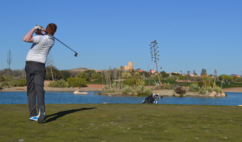 "A Darren Clarke Golf School student plays their tee shot into Hole 14 ""Tiburon"" on the Indiana course at Desert Springs."