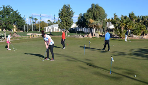 Hartpury Golf Academy students working on there putting technique at the Desert Springs Short Game Academy.