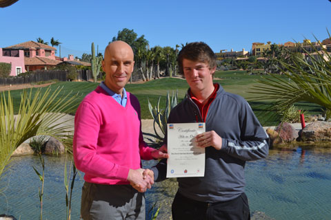 Seventeen-year-old Hartpury College Golf Academy Student Alex Chalk (Right) receiving his certificate for his ?Hole-In-One- On Hole number 2 ? ?Gulch? on The Indiana Course