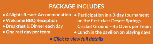 Cricket Holiday Offers at Desert Springs Resort