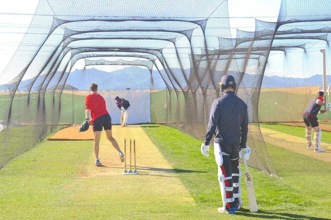 f432a03c797 Lancashire CCC Batsman practice taking place at the grass wickets at the  Desert Springs Cricket Academy