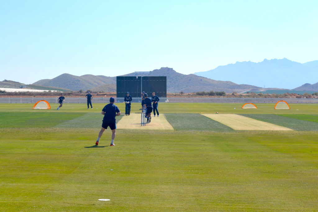 Derbyshire-County-Cricket-Club-training-session-taking-place-at-the-Desert-Springs-Cricket-Ground